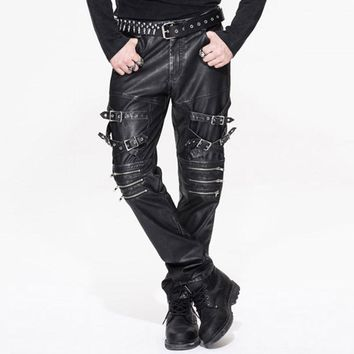 Punk Rock Leather Men's Trousers Gothic Pantalon Homme 2017 Casual Brand Clothing Straight Mens Pants With Pockets