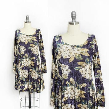 Vintage Betsey Johnson Dress - 1990s VELVET Printed Floral - Small S