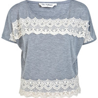 Crochet Lace Panel Tee - Miss Selfridge