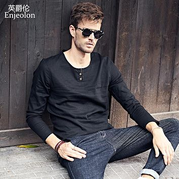 Men Long sleeve linen casual T Shirts solid V neck button fly Man's T-Shirts Slim Tops Tee