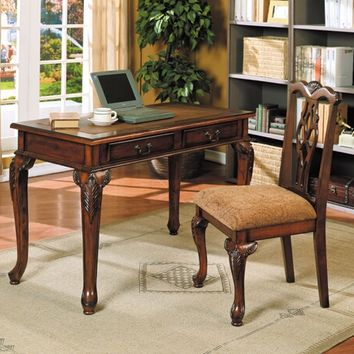 Acme 09650 Aristocrat dark cherry brown finish wood desk and chair set with detailed carvings