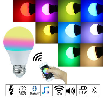 Bluetooth LED Bulb 4.5W E27 RGBW led lights Bluetooth 4.0 smart lighting lamp color change dimmable by Phone IOS Android APP