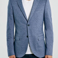 Blue Spacedye Jersey Skinny Fit Blazer