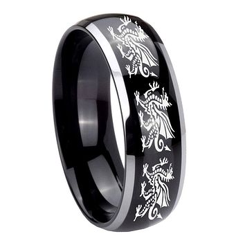 8MM Glossy Black Dome Multiple Dragon 2 Tone Tungsten Laser Engraved Ring