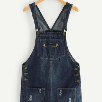 Ripped Denim Overall Dress