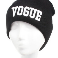Winter Beanie Womens & Mens VOGUE Knitted Black & White Cuffed Skully Hat