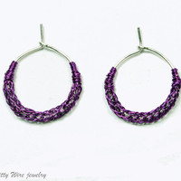Sterling silver hoop earrings with purple viking knit accent