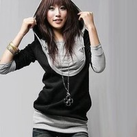 Korea Fashion Design U-Neck Tops with Hoodie Blouse Black Fashion Tops Long-slee - T-Shirts & Tank Tops