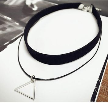2018 Women Jewelry Korean Triangle Pendant Leather Strap Necklace Chokers Necklace Gold-Color Statement Ladies Link Necklace