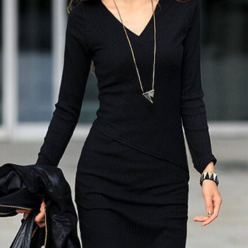 Black V-Neck Long Sleeve Dress