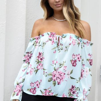 Hot Topic Blue Off Shoulder Floral Top