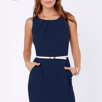 LULUS Exclusive The Good Life White and Navy Blue Dress