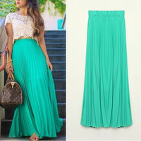 New 2014 Spring Summer Fashion Long Chiffon Skirts Female Candy Color Pleated Maxi Womens Skirts = 1958666628