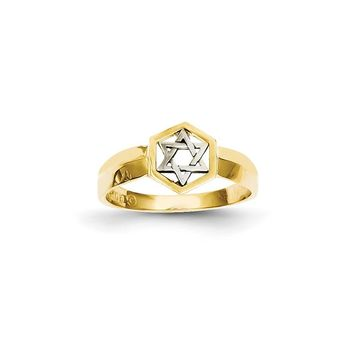 14K Two-tone Gold Polished Star of David Ring