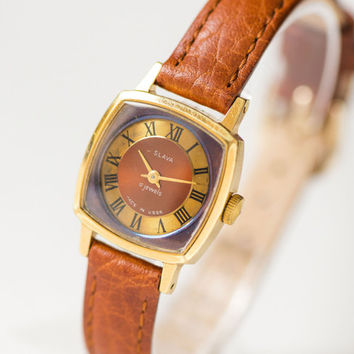 Gold plated women watch, square lady's wristwatch Glory, burgundy copper watch, water protected ladies watch gift, genuine leather strap new