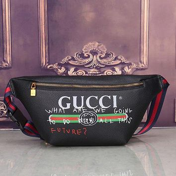 Gucci Popular Fashion Women Men Personality Leather Purse Waist Bag Zipper Single-Shoulder Bag Crossbody Black I