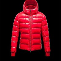 ONETOW Moncler Aubert Hooded Neckline Coral Jackets Nylon/Polyamid Mens 41224644MN