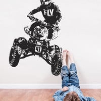 ATV Wall Decal, 4 Wheeler 4x4 Wall Sticker, ATV Quad Wall Decal Decor, 4 Wheeler Quad Kids Bedroom Wall Decor Art, 4x4 ATV Room Mural se169