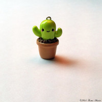 Kawaii Cactus Charm - Potted Cactus Charm, Polymer Clay Charms, Kawaii Charms, Cactus Charms