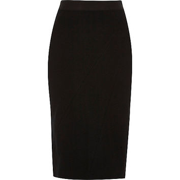 Black asymmetric seam ponte pencil skirt