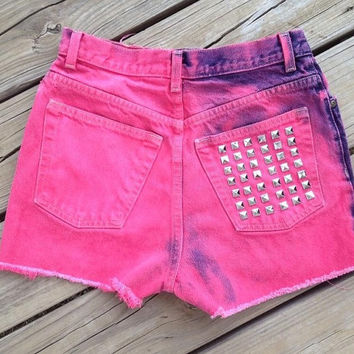High Waisted Studded Pink Shorts Size 6 by DenimAndStuds on Etsy