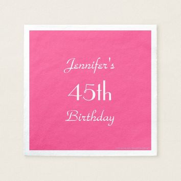 Hot Pink Paper Napkins, 45th Birthday Party Napkin
