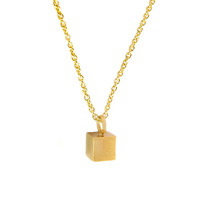 Minimalist Cube Pendant Necklace