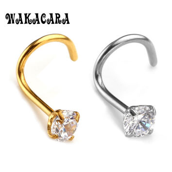 3MM Zircon Rhinestone Septum Nose Studs Hooks Bar Pin Nose Rings Body Piercing Stainless Steel Jewelry