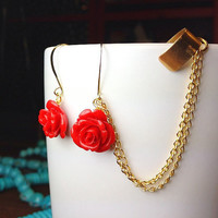 Ear Cuff Earrings with Red Roses & chain Red by AtelierYumi