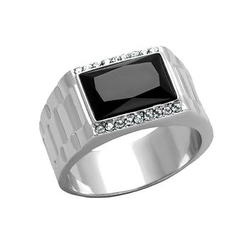 Black Ice - Men's Stainless Steel Synthetic Onyx Stone Statement Ring