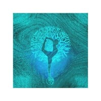 Yoga Tree in Ocean Colors