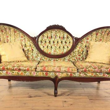 Antique Victorian Carved Mahogany Upholstered Sofa