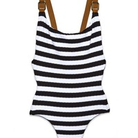 Buckled Overall One Piece - Stripe