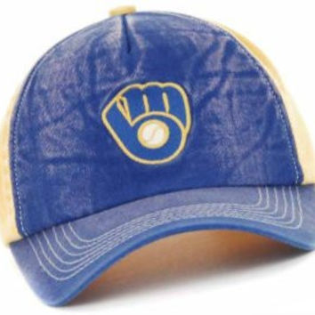 Milwaukee Brewers Throwback Logo Distressed Snapback Hat Cap MLB Authentic & NEW Snap Back