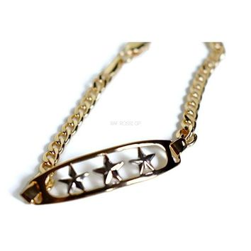 Three Silver Stars  Curb Link  Bracelet 18kts of Gold Plated