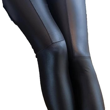 Faux Leather Tights Stretchy Joint Leggings