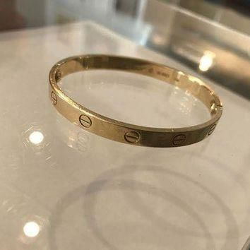 ONETOW Authentic Cartier 18K Love Bracelet Yellow Gold Size 17 Preowned