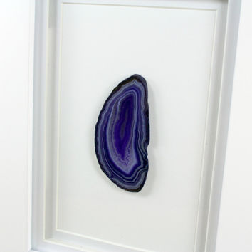 framed agate art dyed purple agate slice white matte frame modern geode wall