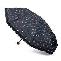 Black Nautical Anchors Umbrella