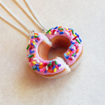 Polymer Clay Pink Strawberry Doughnut Half Best Friend Bff FRiendship Necklaces