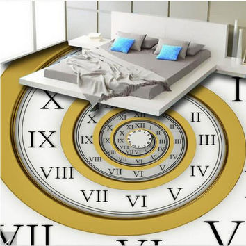 3d photo wallpaper custom 3d floor painting wallpaper 3 d floor tile ancient Roman numerals clock wall paper 3d room decoration