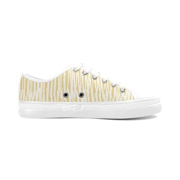 Yellow Stripes Theme White Base Women's Nonslip Canvas Shoes