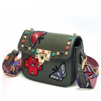 Embroidered Patch Studded Guitar Strap Crossbody Bag