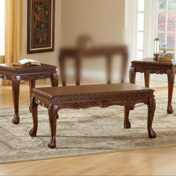 Danbury Cherry Carved Coffee Table Set