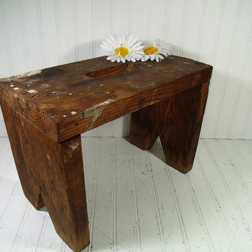 Primitive Solid Wood Large Foot Stool Heavy Duty Bench - Vintage HandCrafted Rustic Farm Seat - Chippy Scarred & Stained Wood WorkShop Bench