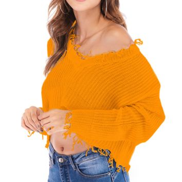 Fashion New Autumn And Winter Long Sleeve Sweater Yellow