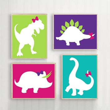Girl DINOSAUR Wall Art Canvas or Print DINOSAUR Baby Girl Nursery Wall Art, Girl Bedroom Wall Decor, Girl Dinosaur Birthday Set of 4 Pictures