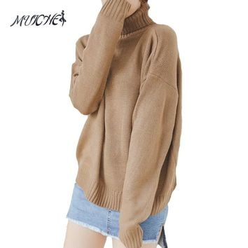 MUICHES Autumn and Winter Vintage Women Sweater Batwing Sleeve Loose Turtleneck Knitted Pullover Army Green Sweaters Crop Top