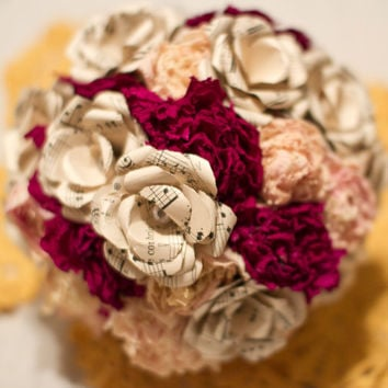Small Handmade Music Sheet  Paper Roses by TheLittleGypsyBride