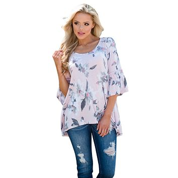 Z| Chicloth Mid Length Bell Sleeve Pink Floral Blouse
